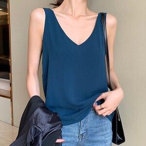 Womens Tops and Blouses Chiffon Women Blouses Sleeveless V-Neck White Women Shirts Plus Size Korean Fashion Clothing(China)