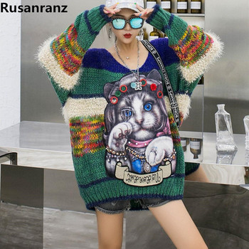 2019 Winter New Cartoon Cat Loose Medium Long V-collar Long-sleeved Sweater Woman Women Pullovers Coat  Ugly Christmas Sweater 1
