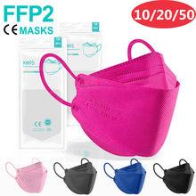 10-50 pces ffp2 mascarillas ce kn95 máscaras cores ffp2 mascarillas aprovado ffp2reutilizável mascherine kn95 mascarillas fpp2 cor