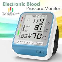 Blood Pressure Monitor Cuff Wrist Sphygmomanometer Blood Presure Meter Monitor Heart Rate Pulse Portable Tonometer BP Presion