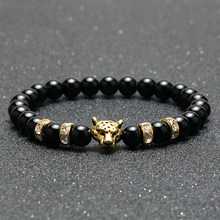 Charm Bracelet for Men gold Leopard Head Accessories Natural Stone Couple Bracelet Wristband Women's Bracelets Gifts for Friends(China)