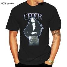Cher – t-shirt en pur coton, avec contour violet, photo Vintage, noir, nouvelle collection T-shirt
