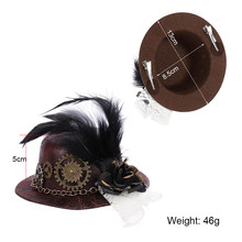 new Girl Felt Cosplay Hat Party Steam Punk Gear Hair Clip Feather Mini Top Hat for Women Vintage Gothic Steampunk Accessories(China)