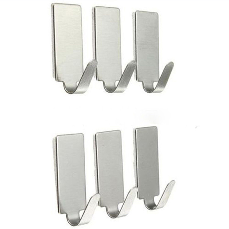 6 PCS Silver Self Adhesive Home Kitchen Wall Door Stainless Steel Holder Hook Hanger For Bathroom Door Hooks For Hanging