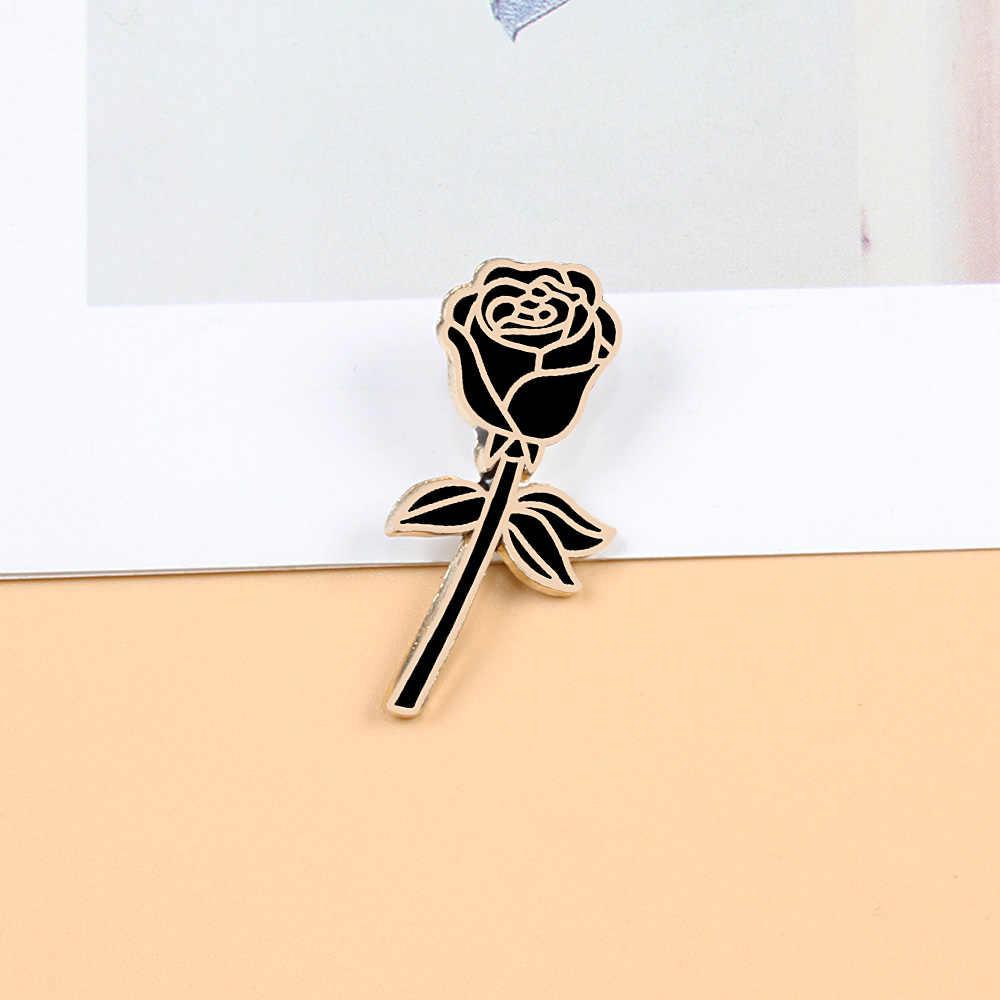 ดอกไม้ Lapel PIN ผู้หญิงป้ายสีขาวสีเหลืองสีม่วงสีชมพูสีแดงสีดำ Rose โลหะเข็มกลัด Pins คู่โรแมนติกของขวัญเครื่องประดับงานแต่งงาน