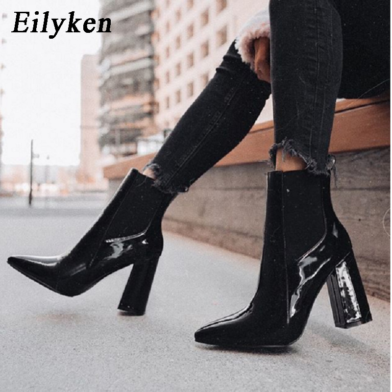 Eilyken Thick High Heels Women Ankle Boots Square Toe Zip Footwear PU Patent Leather Female Boot Shoes Woman 2020 New Black