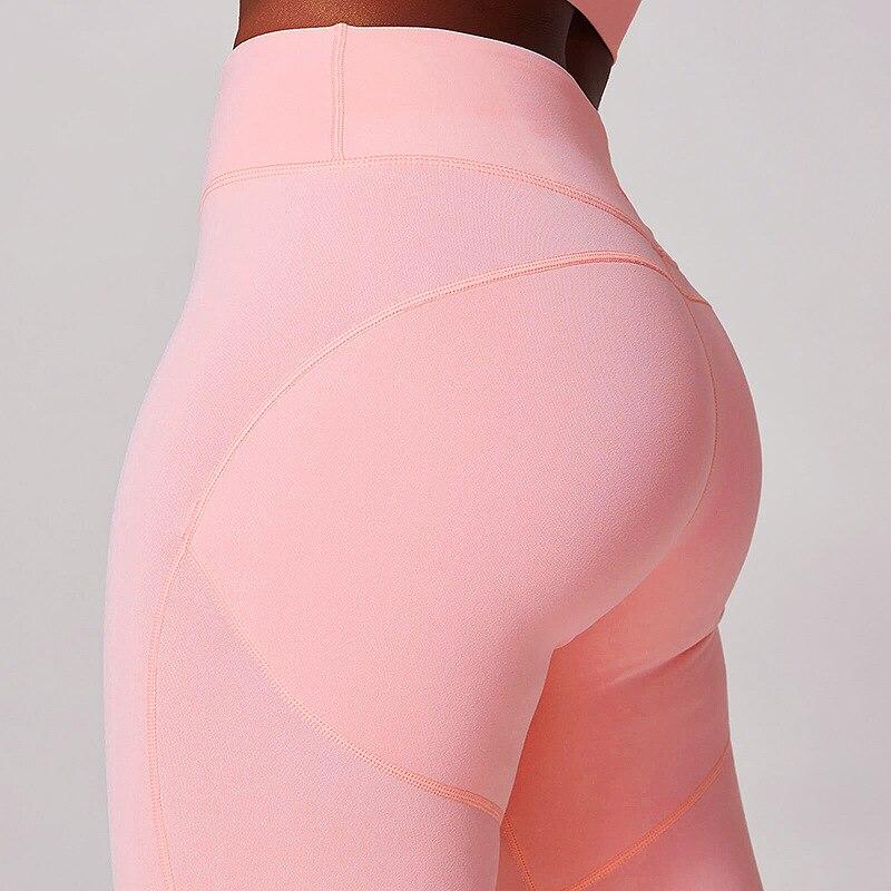 NORMOV Fashion Women Leggings Fitness Solid High ElasticWaist Ankle Length Cotton Leggings Skinny Pink Push Up Lady Leggins