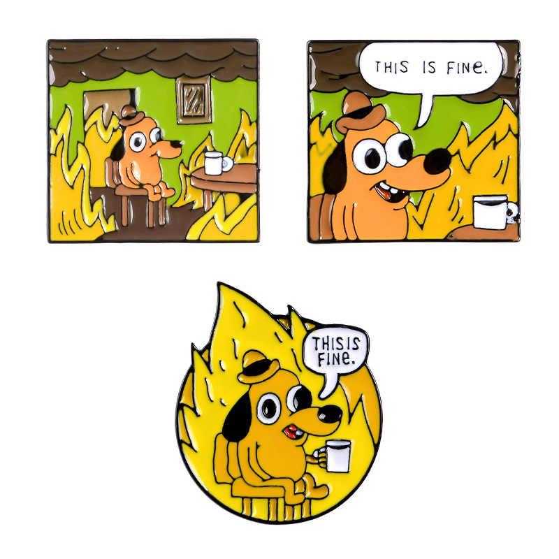 Del fumetto Distintivi e Simboli Lettera Questo Va Bene Hound Spille per Le Donne Creative Cane Giallo Spilli Dei Monili Dello Smalto Spille Zaino Accessori Del Sacchetto