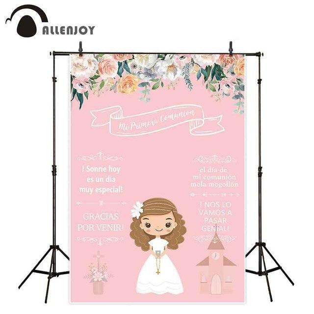 Allenjoy Achtergronden Fotografie Roze Bloem Meisje Mijn Eerste Heilige Communie Decoratie Cartoon Pop Achtergrond Photophone Photocall