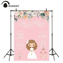 Allenjoy backgrounds photography pink flower girl My first holy communion decoration cartoon doll backdrop photophone photocall