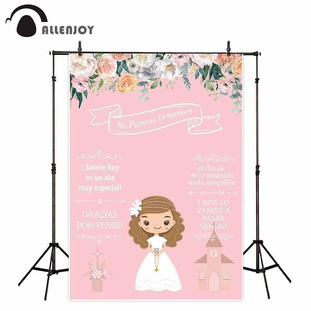 Allenjoy hintergründe fotografie rosa blume mädchen Meine erste heilige kommunion dekoration cartoon puppe hintergrund photophone photocall