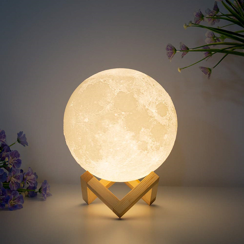 3D Print Moon Lamp Rechargeable USB Luna 16 Colors Change Night Light Toilet Light Night Brightness Adjust Decoration Lamp