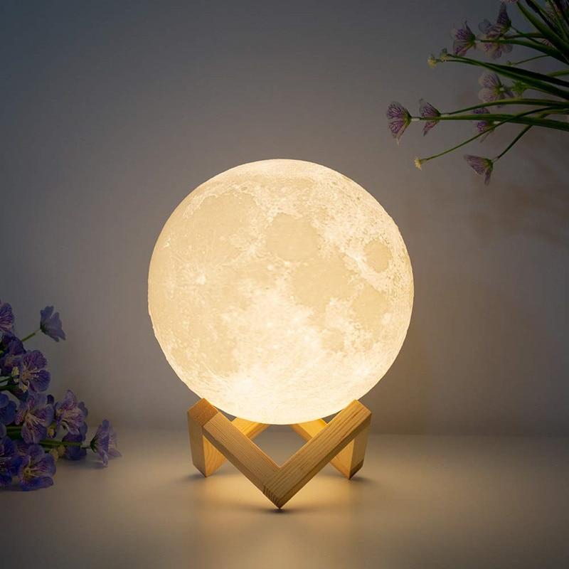 3D Print Moon Lamp Rechargeable USB Luna 16 Colors Change Night Light Toilet Light Night Brightness Adjust Decoration Lamp