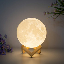 3D Print Moon Lamp Rechargeable USB Luna 16 Colors Change Night Light Toilet Brightness Adjust Decoration