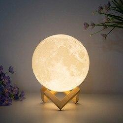 Lampa wydruk 3d księżyc akumulator USB Luna 16 zmiana kolorów lampka nocna oświetlenie toalety lampka nocna regulacja jasności lampa dekoracyjna|Oświetlenie nocne LED|   -