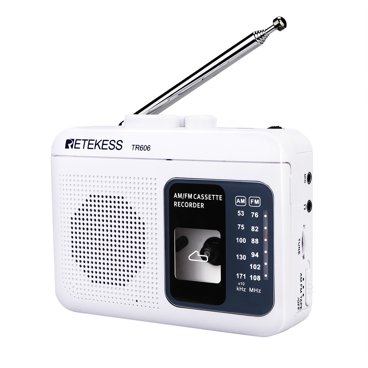 Retekess TR606 FM/AM Portable <font><b>Radio</b></font> with Cassette Playback Voice Recorder <font><b>Built</b></font>-<font><b>in</b></font> Amplifier image