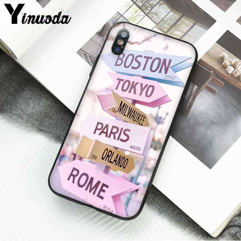Yinuoda 飛行機旅行世界地図道路標識電話ケース iphone 11 プロマックス 8 7 6 6 s 6 プラス x xs 最大 5 5 s 、 se xr