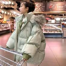 Женская зимняя куртка парки с большим меховым воротником пальто