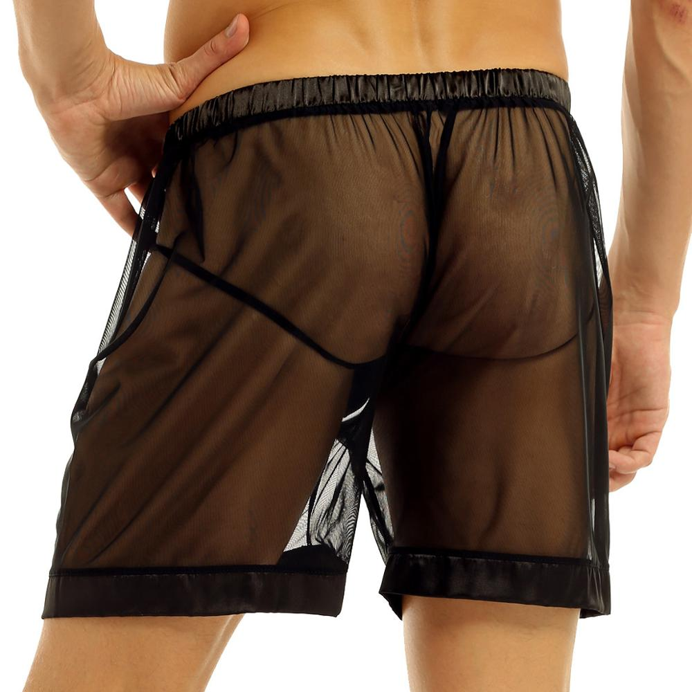 Mens Sexy Lingerie See-Through Mesh Slip Men Boxer Shorts Underwear Loose Lounge Hommes Gay Men Panties Underpants Nightwear
