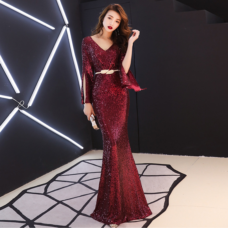 Banquet Evening Dress Female 2019 New Noble Fish Tail Long Style Temperament Host High End Wine Red