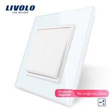Livolo Производитель стандарт ЕС Роскошный белый/розетка с панелью из черного стекла, кнопка, 2 позиционный переключатель, VL-C7K1S-11/12, без логотипа