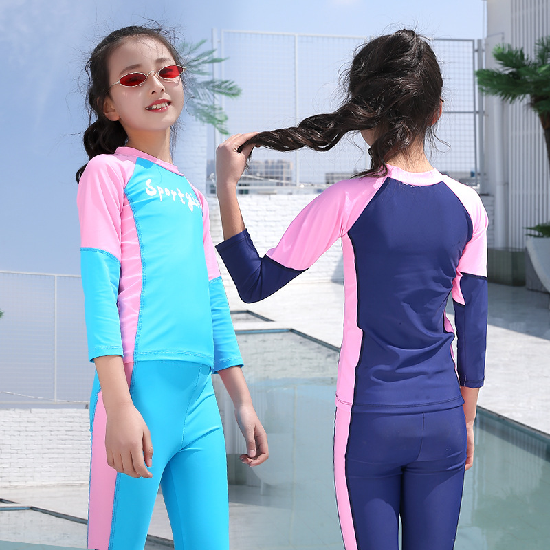Zipper Sun-resistant Tour Bathing Suit One-piece Long Sleeve Anti-Diving Suit Boys And Girls Parent And Child Children Long Slee