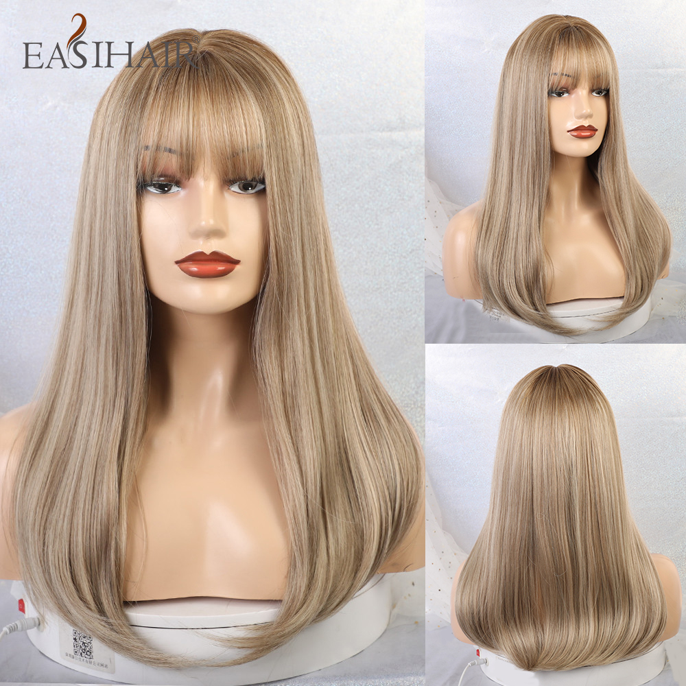 EASIHAIR Long Synthetic Ombre Color Brown Blonde Wigs with Bangs Cosplay Afro Straight Natural Hair Wigs for Black Women Wigs Synthetic None-Lace  Wigs    - AliExpress
