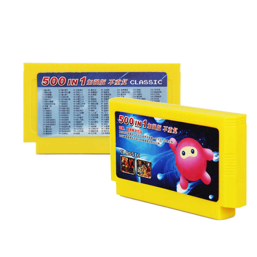 500 Di 1 Konsol Permainan Koleksi Permainan 8 Bit 60 Pin Permainan Kartu untuk Konsol Permainan Video Kartu Memori