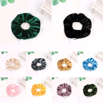 Korea Hair Scrunchie zipper Elastic Hair Bands Women Girls 5pocket Zipper scrunchie Headwear Ponytail Holders Hair Accessories image