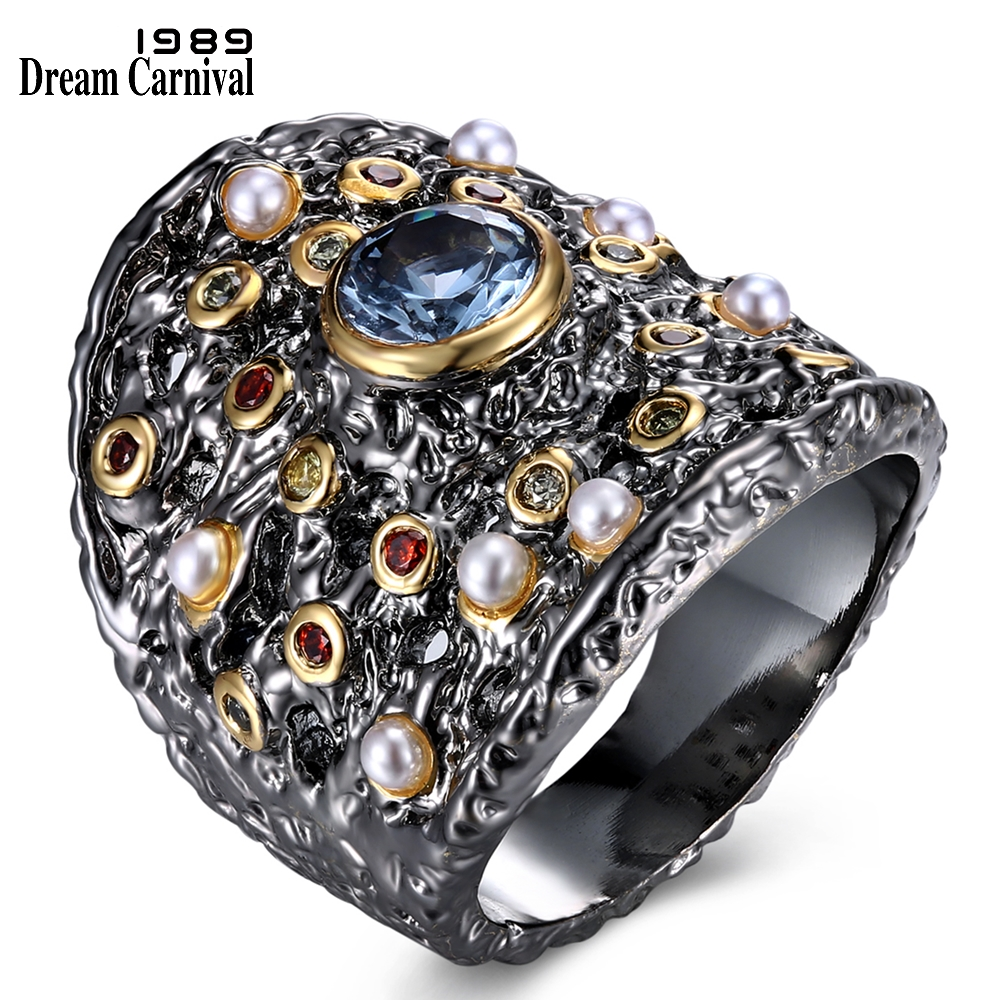 Image 3 - Dreamcarnaval 1989 exagéré femmes gothique ensemble de bijoux boucles doreilles anneau pendentif collier mélange cubique Zircon synthétique perle ERP6532S3Parures de bijoux   -