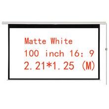 Thinyou 100 дюймов 16:9 электрический экран беспроводной и проводной пульт дистанционного управления для светодиодный DLP проектор белый моторизованный проектор экран
