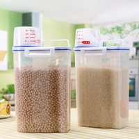 Plastic Cereal Dispenser Cupboard Storage Box Kitchen Food Grain Rice Container With Measuring Cup Box Cover|Bottles Jars & Boxes| |  -