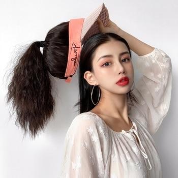 Peluca de sombrero, extensión de cabello, maíz, pelo sintético, cola de caballo, Pelo Rizado largo, tocado de mujer, peluca completa esponjosa para llevar puesto