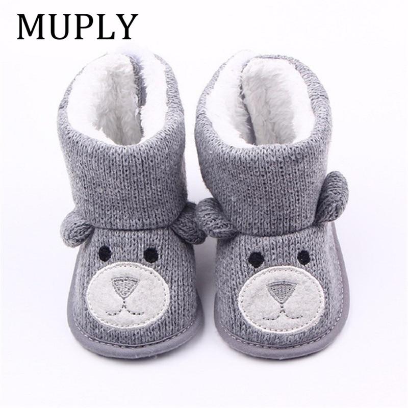 Зимние ботинки для малышей; Обувь для новорожденных с милым мультяшным медведем; Очень теплые ботиночки для маленьких мальчиков и девочек