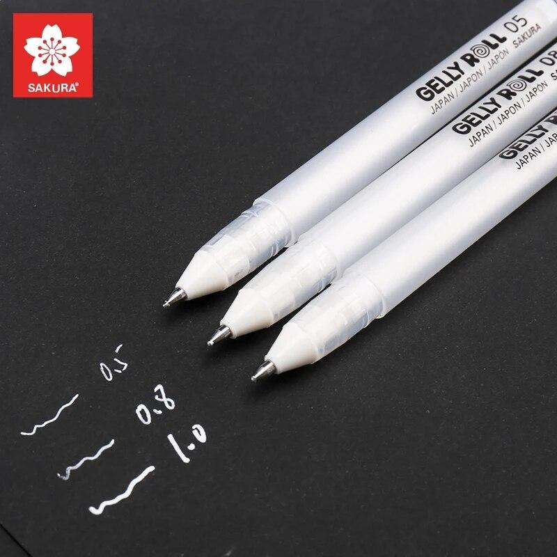 Gelly-3 uds. De bolígrafos clásicos de tinta de Gel, pluma para resaltar, lápiz blanca brillante, marcadores de colores para resaltar, regalo de escritura