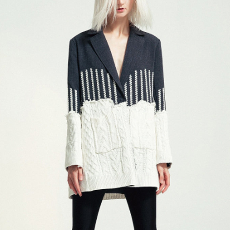 Knitted Wool Patchwork Chaqueta Mujer 2019 European Runway Designer Long Sleeve Medium Long Blazer Feminino For Autumn Winter