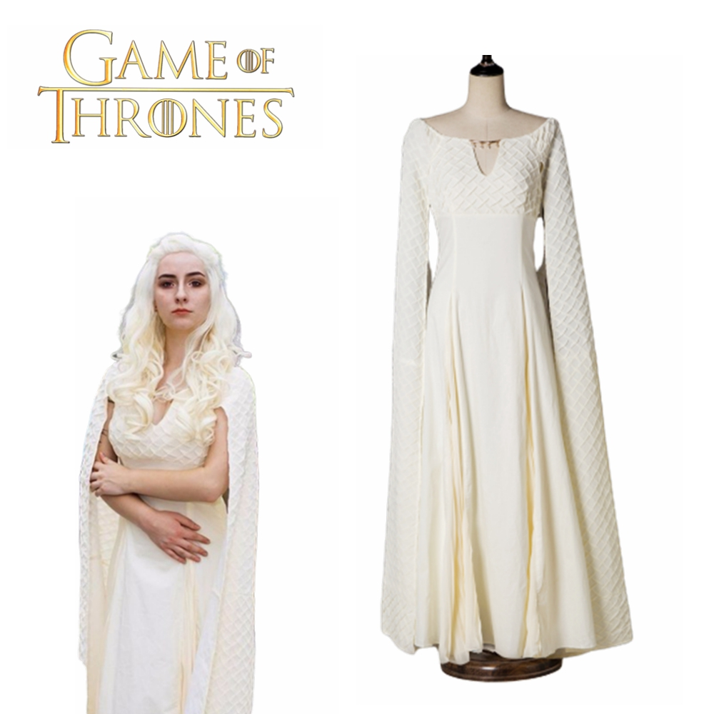 Game Of Thrones 5 Daenerys Targaryen Costumes Cosplay Dress Beige Long Halloween Party Dress Ball Gowns For Women