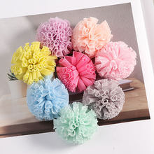 DIY 5Pcs Lace Gauze Elastic Flower Balls Trendy Colorful Soft Pompom Creative Dress Pompons Children Hair Sew Accessories(China)