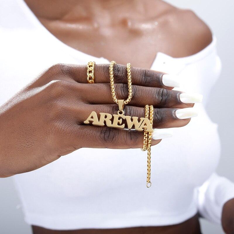 Золотая цепочка в нигерийской коробке, Индивидуальные ювелирные изделия, ожерелье с именем и кулоном, ручная работа, табличка, подарок, чоке...