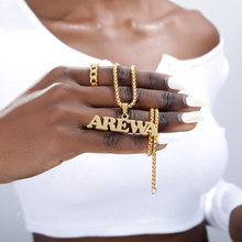 Nigéria ouro caixa corrente jóias personalizadas nome personalizado pingente colar feito à mão placa de identificação presente gargantilha colares para mulher