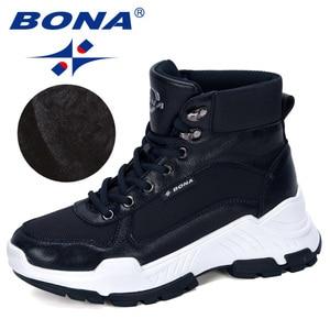 Image 5 - BONA 2019 חדש מעצבי חורף מגפי אישה נעלי שלג מגפי נשים קרסול מגפי גבירותיי קרסול הנעלה חם קטיפה Feminimo טרנדי