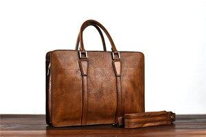 Image 2 - PNDME vintage hohe qualität aus echtem leder herren aktentasche business laptop handtasche luxus rindsleder büro schulter messenger taschen