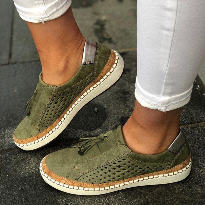 2020 Spring Loafers Women Shoes Hollow Out Women's Canvas Casual Shoes Tassel Solid Color Woman Shoes 35-43 Zapatos De Mujer