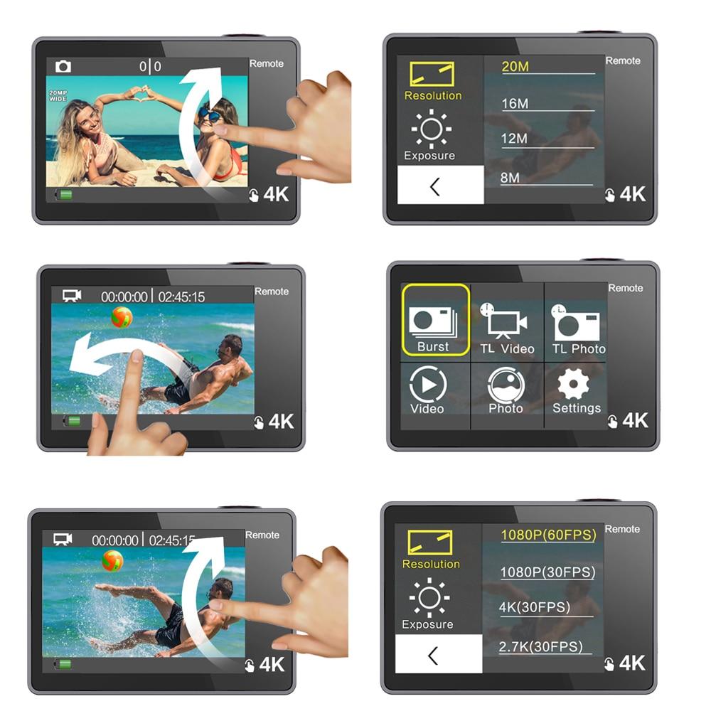 GEEKAM caméra d'action T1 écran tactile Ultra HD 4 K/30fps 20MP WiFi sous marine étanche vélo casque Sports extrêmes vidéo Cam - 2