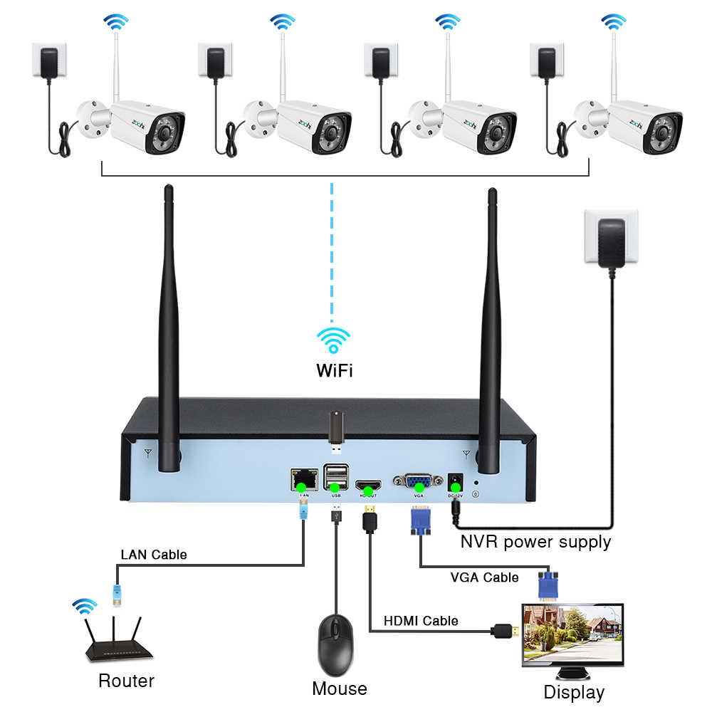 Zoohi System CCTV bezprzewodowy System nadzoru zestaw 1080P 2MP System kamer do monitoringu domu na zewnątrz WIFI kamery systemu bezpieczeństwa na podczerwień