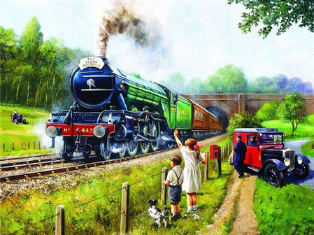 Paint By Numbers Kit Age Of Steam Flying Scotsman 50's Post Office Van Steam Train