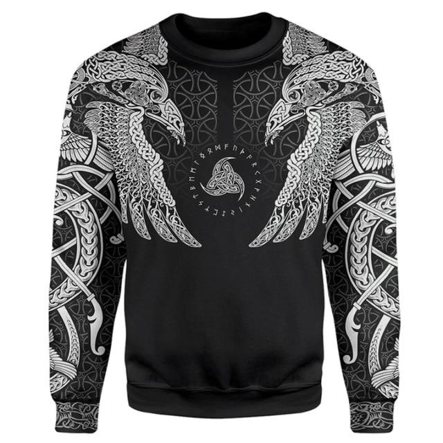Viking Muninn Tattoo Raven 3D Printed Hooded Sweatshirt 5