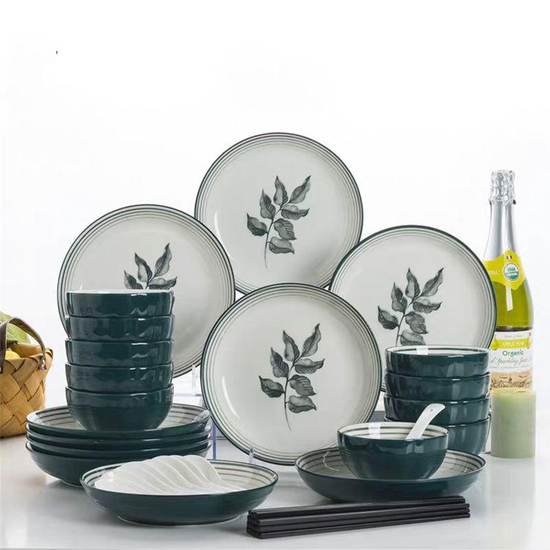 Colored Glazed Ceramic Dinner Set 4/5/6/7/8 Inch Porcelain Cake Plate Soup Bowl Hand Drawn Pattern