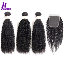 HairUGo Hair Kinky Curly Bundles With Closure Malaysian Natural Black 3 Non Remy