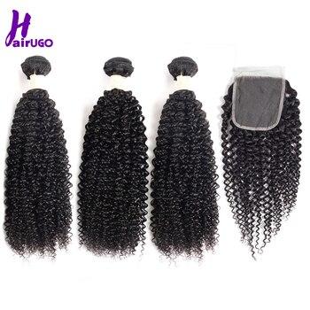 HairUGo Hair Kinky Curly Bundles With Closure Malaysian Hair Bundles With Closure Natural Black 3 Bundles With Closure Non Remy